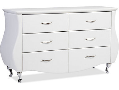 Enzo White 6-Drawer Dresser, , large