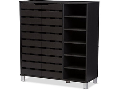 Glenwood Dark Brown Shoe Cabinet, , large