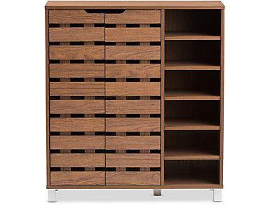 Glenwood Walnut Shoe Cabinet, Brown, large