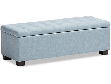 Roanoke Blue Storage Bench, , large