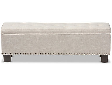 Hannah Beige Storage Bench, Beige, large