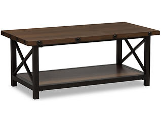 Fulton Distressed Coffee Table, Brown, , large