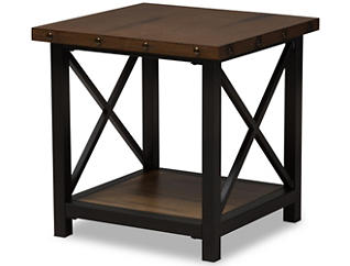 Fulton Distressed End Table, Brown, , large