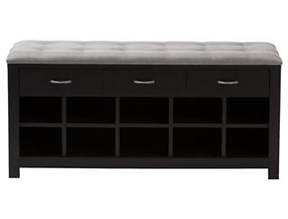 Wrigleyville Grey and Espresso Storage Bench, , large