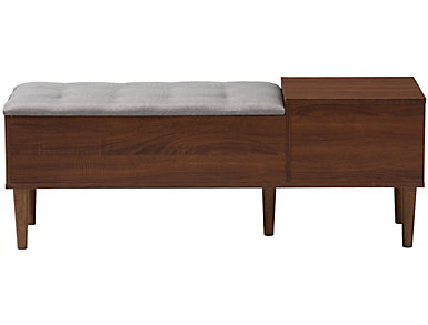West Town Light Grey and Walnut Brown Shoe Storage Bench, , large