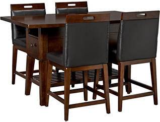 Morgan Chocolate Cherry 5 Piece Gathering Set with Stationary Stools, , large