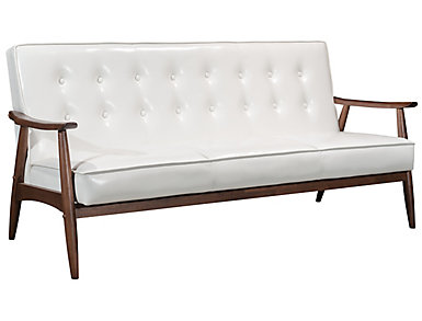Rocky Tufted Sofa, Putty, White, large
