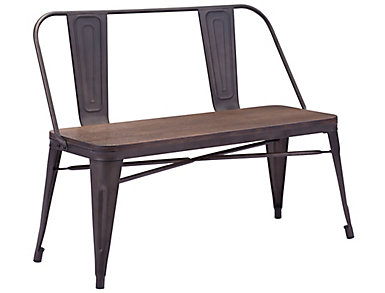 Elio Rustic Wood Double Bench, , large
