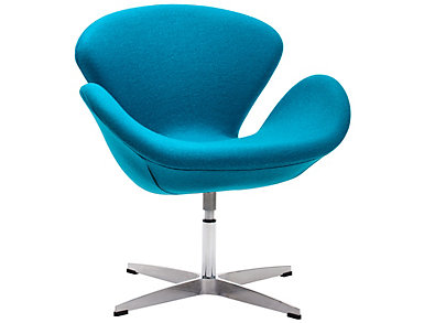 Pori Swivel Chair, Blue, large