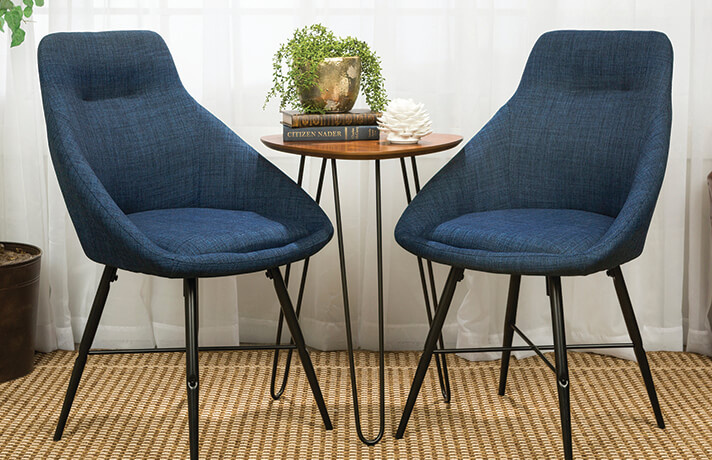 Blue Dining Chairs Set of 2