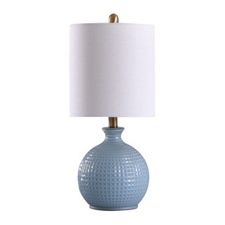 Textured Blue Glass Lamp