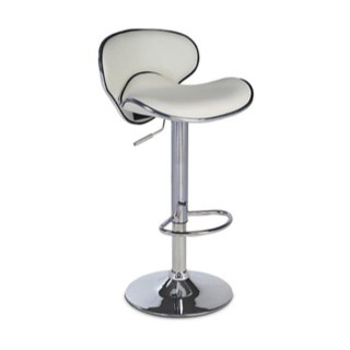 Gas Lift White Bar Stool