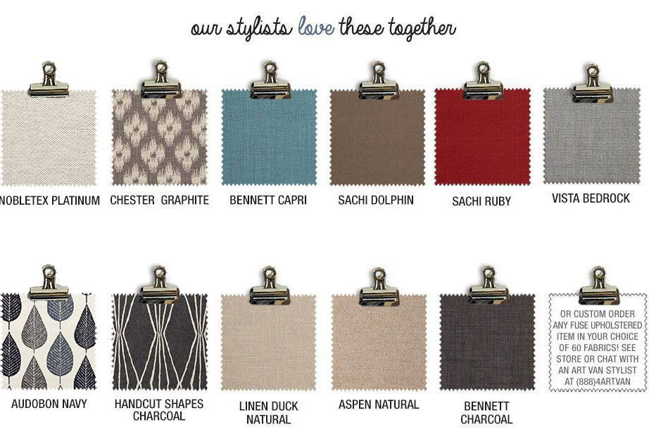 Our stylists love Jazzy Chic swatches together or custom order any fuse upholstered item in your choice of 60 fabrics! See store or chat with an Art Van stylist at (888)4ARTVAN