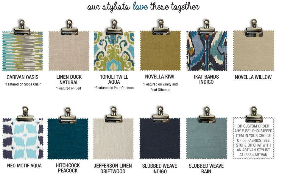 Our stylists love springtime blues swatches together or custom order any fuse upholstered item in your choice of 60 fabrics! See store or chat with an Art Van stylist at (888)4ARTVAN
