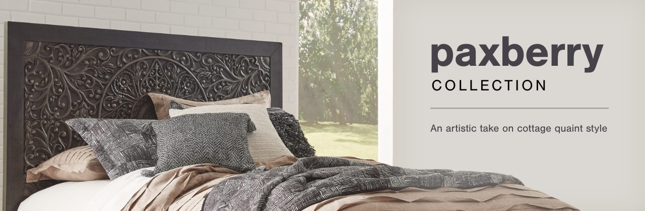 A Plus Content -  https://s7d3.scene7.com/is/image/AshleyFurniture/CollectionA%2BBanner%5FPaxberry%5FBedroom?scl=1