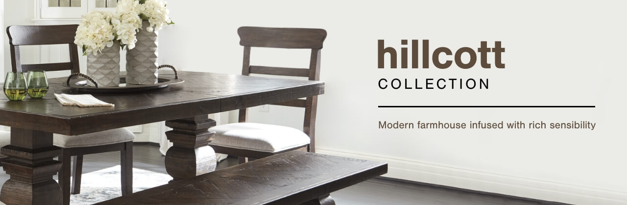 A Plus Content -  https://s7d3.scene7.com/is/image/AshleyFurniture/CollectionABanner%5FHillcott%5FDining?scl=1