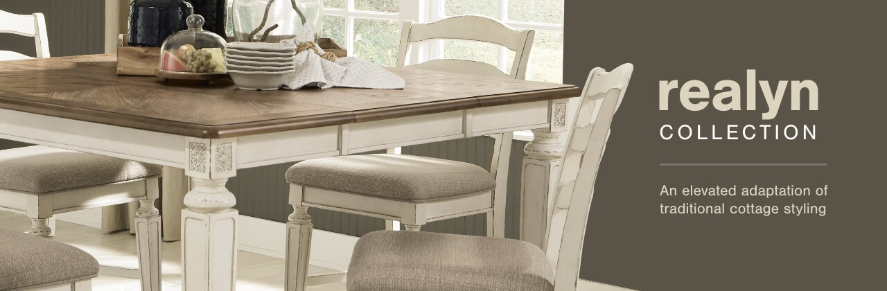 A Plus Content -  https://s7d3.scene7.com/is/image/AshleyFurniture/CollectionABanner%5FRealyn%5FDining?scl=1