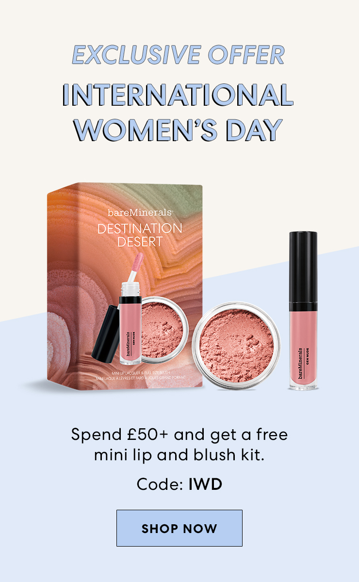 free mini lip and blush kit when you spend £50+ code:IWD