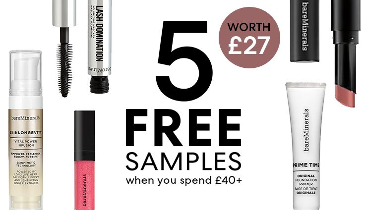 5 FREE SAMPLES when you spend £40+