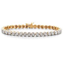 1/2 CT. T.W. Diamond 14K Yellow Gold over Silver Tennis Bracelet