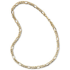Made in Italy Mens 10K Yellow Gold 7.5mm Semi-Solid Figaro Chain Necklace