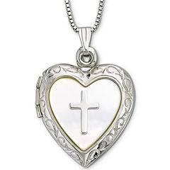Mother-of-Pearl Heart & Cross Locket Pendant Necklace