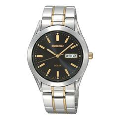 Seiko® Mens Black-Dial Two-Tone Solar Watch SNE047