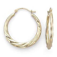 14K Yellow Gold Patterned Hoop Earrings