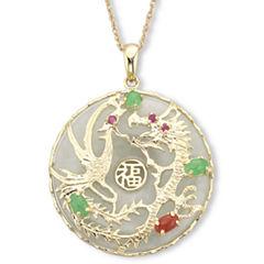 Jade Dragon Pendant 14K over Sterling Silver