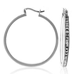 Sterling Silver Marcasite Large Hoop Earrings