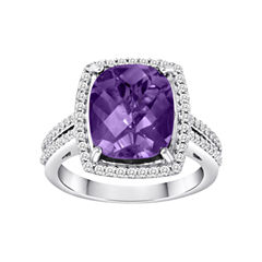 LIMITED QUANTITIES! Genuine Amethyst Ring & Created White Sapphire Halo Ring in Sterling Silver
