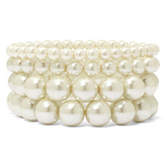 Vieste® 4-pc. Pearlized Glass Bead Stretch Bracelet