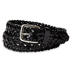 IZOD® Black Leather Braided Belt - Boys 8-20