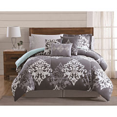 Style 212 Textured Damask 12-pc. Damask + Scroll Comforter Set