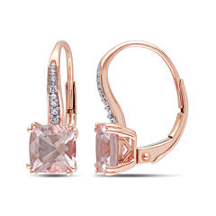 Cushion-Cut Genuine Morganite and Diamond-Accent 10K Rose Gold Earrings