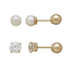 Infinite Gold™ Kids 14K Yellow Gold Cultured Freshwater Pearl and Cubic Zirconia Stud 2-pr. Earring Set
