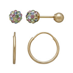 Infinite Gold™ Kids 14K Yellow Gold Multicolor Crystal-Accent Stud and Hoop 2-pr. Earring Set
