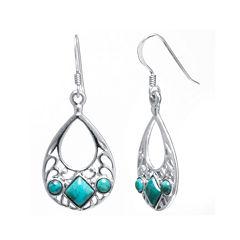 Enhanced Turquoise Sterling Silver Openwork Teardrop Earrings