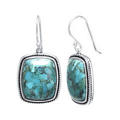 Enhanced Turquoise Sterling Silver Rectangular Drop Earrings
