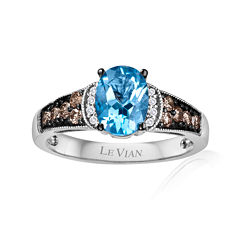 LIMITED QUANTITIES Grand Sample Sale™ by Le Vian®  Genuine Ocean Blue Topaz™ and 1/4 CT. T.W. Diamond set in 14k Vanilla Gold® Ring