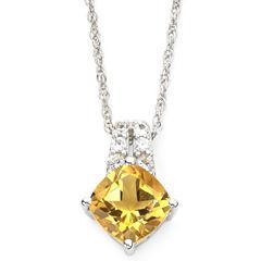 Sterling Silver Genuine Citrine & Lab-Created White Sapphire Pendant Necklace
