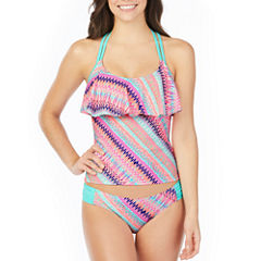 Arizona Stripe Flounce Swimsuit Top-Juniors