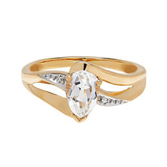Genuine White Topaz and Diamond-Accent 10K Yellow Gold Ring