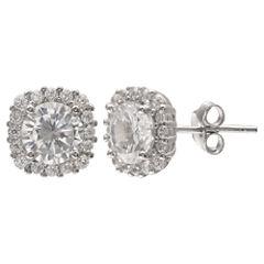Silver Treasures Round Clear Stud Earrings