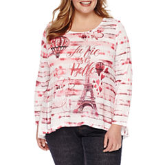 Unity World Wear 3/4 Sleeve Scoop Neck Hearts T-Shirt-Womens Plus