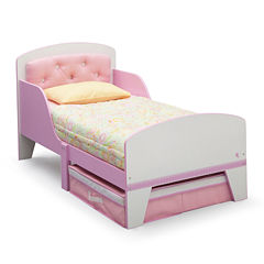 Jack & Jill Toddler Bed With Upholstered Headboard - Pink and White