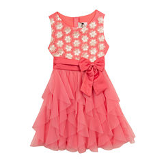 Rare Editions Flower Tulle Waterfall Dress - Girls 7-16