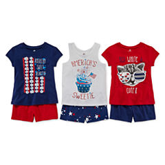 Okie Dokie® Americana Graphic Tee, Tank or Shorts - Toddler Girls 2t-5t