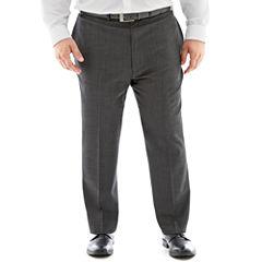 Claiborne® Charcoal Herringbone Flat-Front Suit Pants - Big & Tall