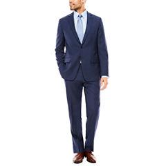 Claiborne Blue Plaid Suit Separates- Slim Fit